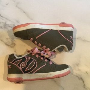 Heelys, Girls pink and grey, size 2